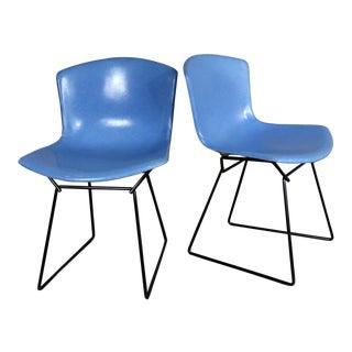 Harry Bertoia for Knoll Blue Fiberglass Side Chairs - A Pair