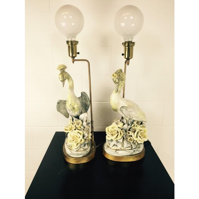 Delightful pair of signed Freeman Leidy Arts & Crafts ceramic crane lamps. Excellent example of California Pottery design...