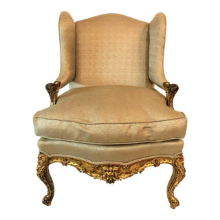 Antique French Regence Gold Leaf Fauteille Chair. For Sale