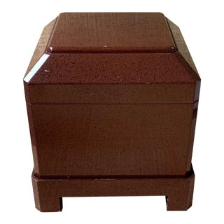 Lacquered Porphyry Side Table Storage Box on Plinth Louis Maslow & Sons For Sale
