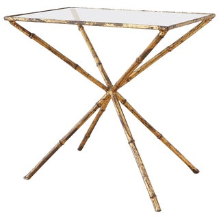 Italian Faux Bamboo Hollywood Regency Gilt Drinks Table For Sale