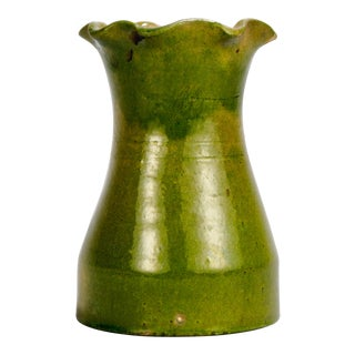 French Light Green Pottery Vase With Fluted Edge For Sale
