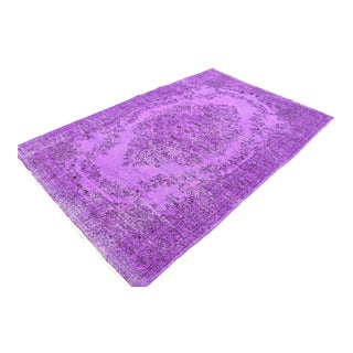 Vintage Turkish Oushak Purple Rug Hand Knotted Area Rug Antique Decorative Wool Rug Anatolian Nomadic Rug 5.6x8.5 Ft For Sale
