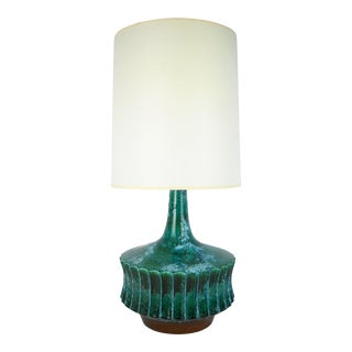 Large Italian Lava-Glaze Turquoise Lamp For Sale