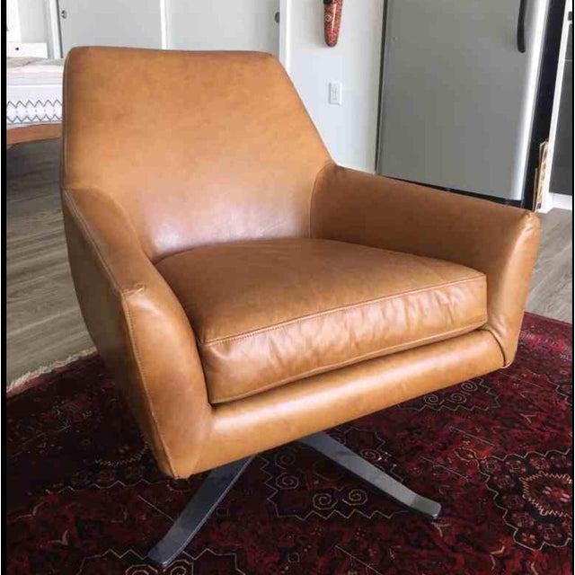 Mid Century Swivel Leather Chair - Image 2 of 3