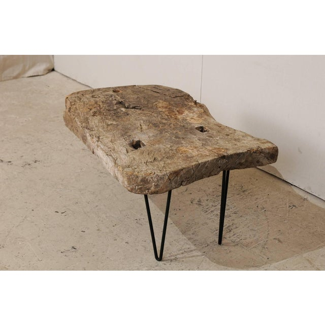 Rustic Custom-Made Coffee Table of Old Natural Coffee Table For Sale - Image 4 of 8