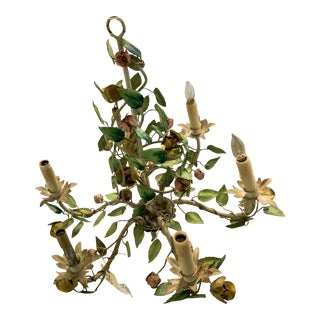 French Tole 6 Arm Chandelier With Flowers and Vines For Sale