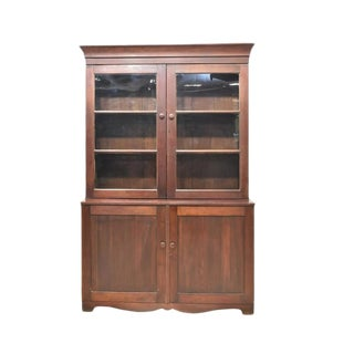 Early 19th Century American Country Cherry Glazed Stepback Cupboard For Sale