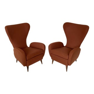 Pair Paolo Buffa Sculptural Wingback Lounge Chairs For Sale
