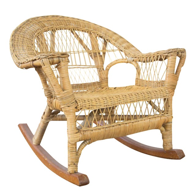 Vintage Boho Wicker Child's Chair - Image 1 of 6