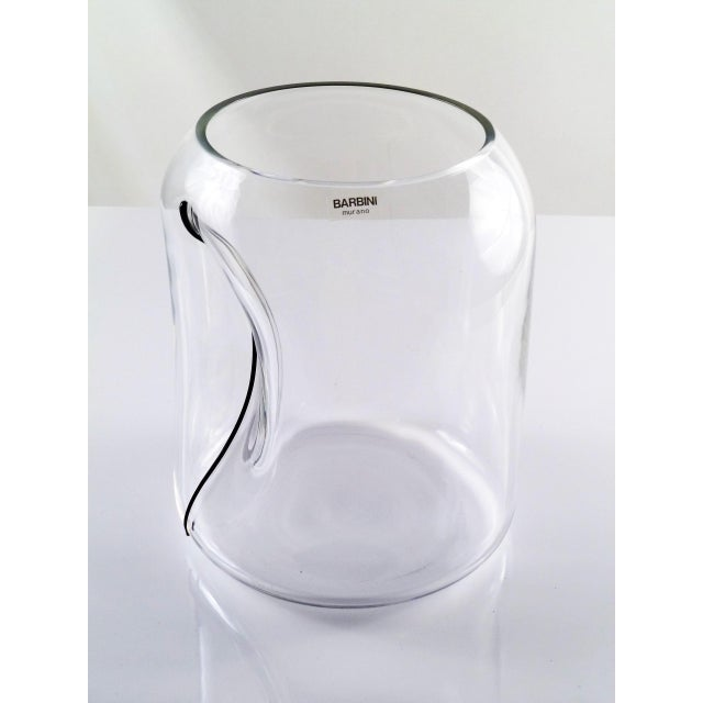 Barbini Large Barbini Clear Murano Glass Vase Indented with Black Stripe For Sale - Image 4 of 12