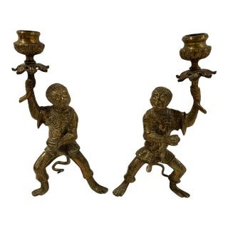 1950s Regency Gilt Bronze Monkey Candlesticks - a Pair For Sale