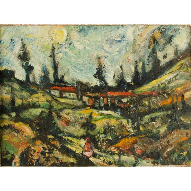"""Mid 20th Century Mid 20th Century """"Sunday Stroll Home"""" Landscape Oil Painting, Framed For Sale - Image 5 of 13"""