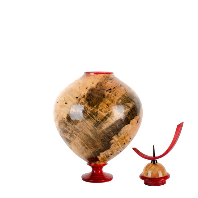Offered is an original John Mascoll hand-turned hollow form vessel made from box elder. Beautiful piece of wood with...