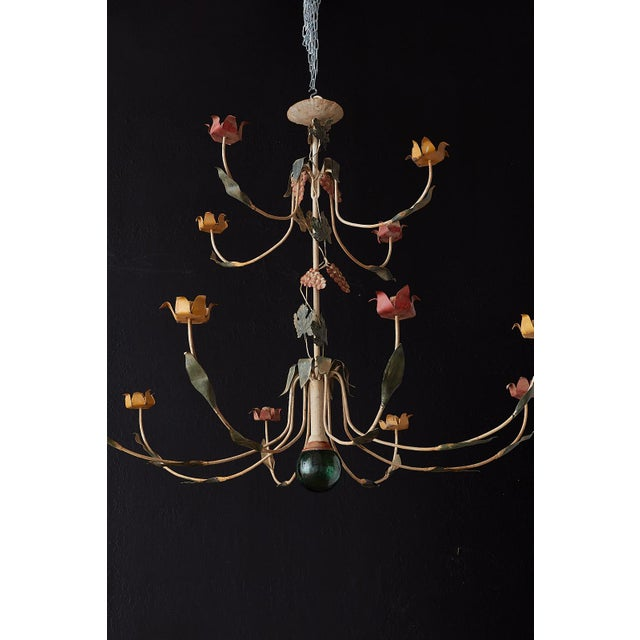 French Rustic French Iron Twelve-Light Candle Chandelier For Sale - Image 3 of 13