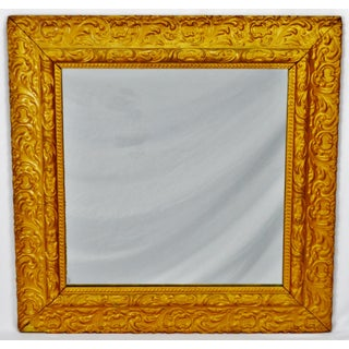 Antique Framed Carved Wood Gold Painted Square Mirror Preview