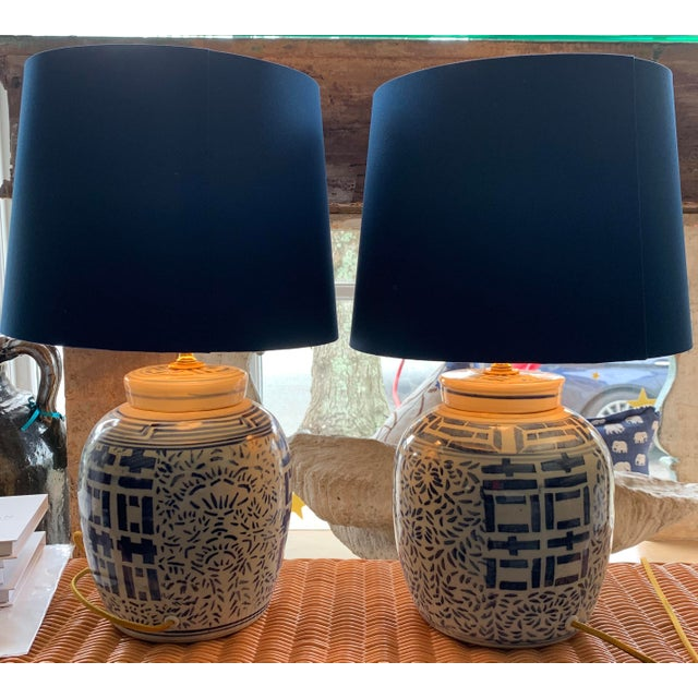 Asian Blue & White Double Happiness Lamps - a Pair For Sale - Image 3 of 5