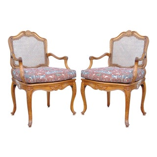 Quality Pair Vintage French Louis XV Style Carved Caned Back Fauteuil Arm Chairs