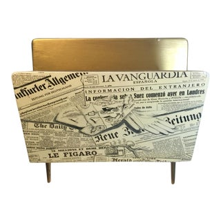 1950s Bucciarelli Itallian Mid Century Magazine Rack in the Manner of Piero Fornasetti For Sale
