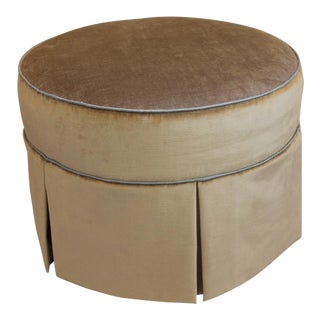 Round Swivel Velvet Ottoman For Sale