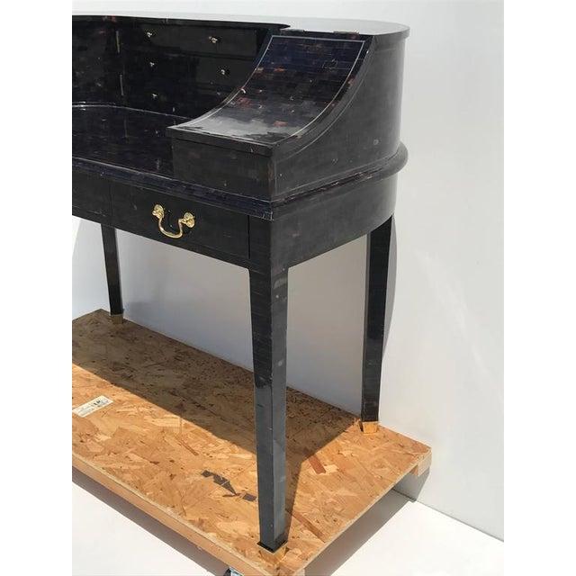 Bone 1970s Hollywood Regency Maitland Smith Tessellated Horn Carlton House Desk For Sale - Image 7 of 11