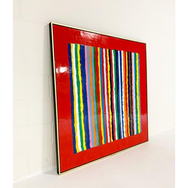 Abstract John O'Hara. Sardinia, Red. Encaustic Painting For Sale - Image 3 of 7