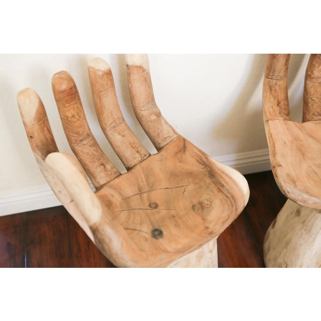 Abstract Hand Carved Teak Hand Chairs in the Style of Pedro Friedeberg - a Pair For Sale - Image 3 of 5