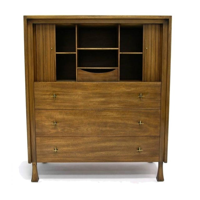 Contemporary Excellent Tall Mahogany John Widdicomb Gentleman's Chest With Tambour Doors For Sale - Image 3 of 7