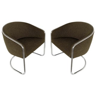 Pair of Tub Dining or Lounge Chairs by Joan Burgasser / Anton Lorenz for Thonet For Sale