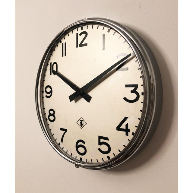 Industrial Large Industrial Factory or Stration Clock by Telefonbau Und Normalzeit For Sale - Image 3 of 6