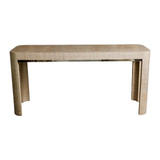 Mid-Century Parson Style Grasscloth & Brass Console Table For Sale