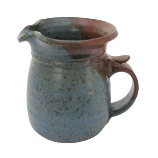 Earthenware Blue Pottery Pitcher For Sale