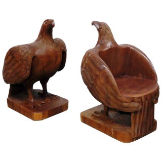Turn of the Century Carved Eagle Bergeres