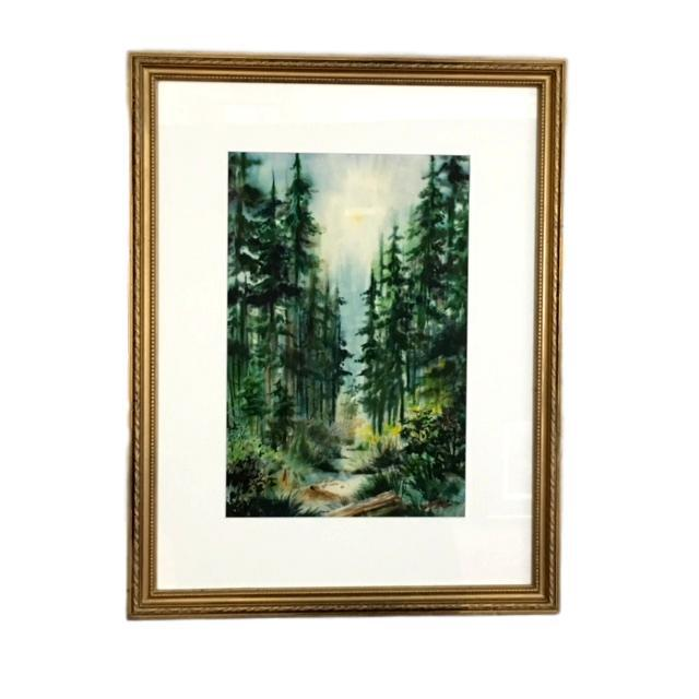 """1950's Forrestscape Watercolor Signed """"Berg"""" For Sale - Image 4 of 4"""