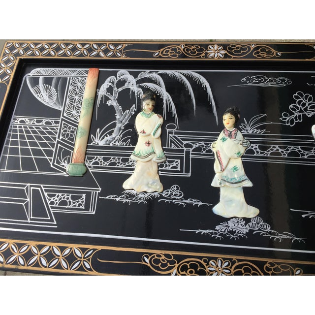 Vintage Asian Black Lacquer Cabinet With Mother Of Pearl For Sale - Image 9 of 10