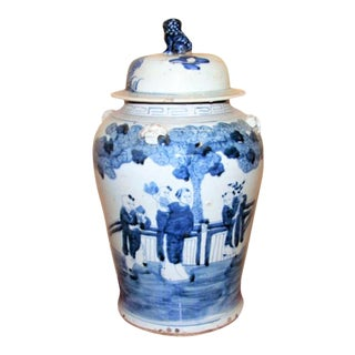 Large Blue & White Chinoiserie Ginger Jar With Children For Sale