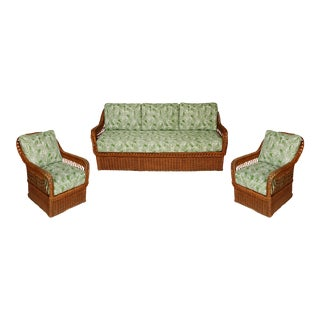 Vintage Wicker Sofa and Chairs- Set of 3 For Sale