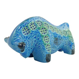 Rimini Blu Ceramic Bull Sculpture by Aldo Londi For Sale