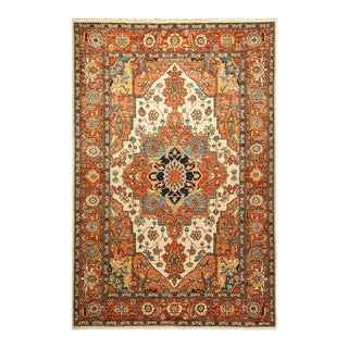One-Of-A-Kind Oriental Serapi Hand-Knotted Area Rug, Tangerine, 6' 0 X 9' 0 For Sale
