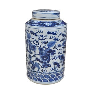 Traditional Sarreid Ltd. Blue & White Ceramic Urn For Sale
