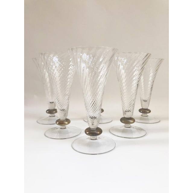 1930s 1930s Art Deco Crystal Trumpet Shaped Glassware - Set of 6 For Sale - Image 5 of 5