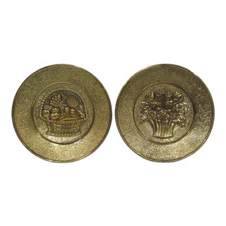 Vintage Mid Century Brass Fruit & Floral Wall Plates - a Pair For Sale