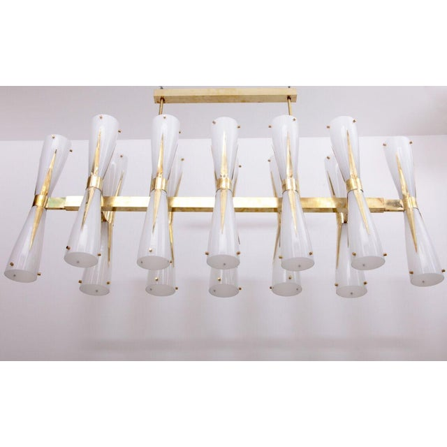 White Very Large Murano Glass and Brass Chandelier Attributed to Stilnovo For Sale - Image 8 of 8