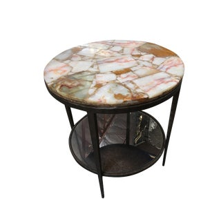 High Style Hand-Forged Round Bronze Side Table With Marble Top For Sale