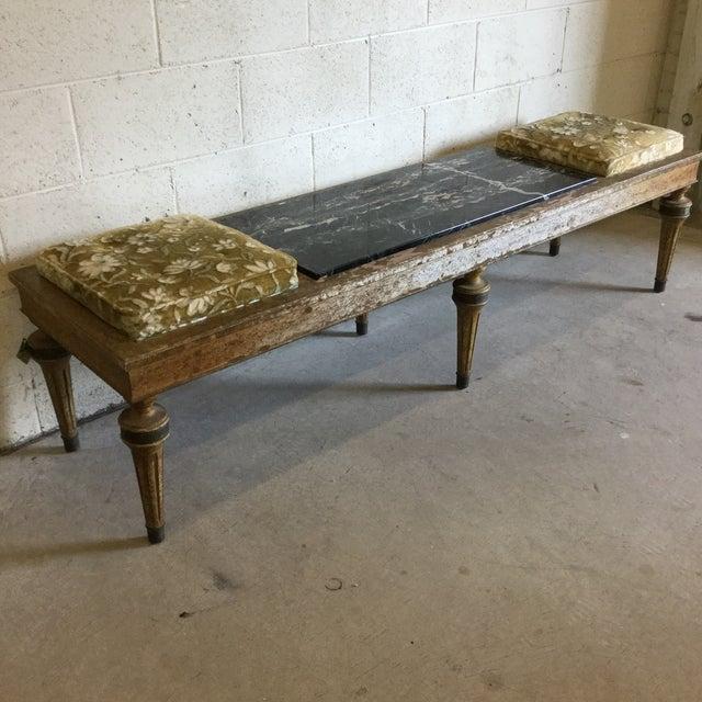 Art Deco Hollywood Regency Wood Marble Upholstered Bench For Sale - Image 3 of 13
