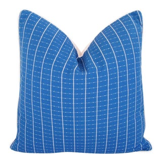 "Woven Blue & White Nautical Feather/Down Pillow 24"" Square For Sale"