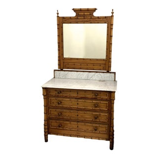 19th Century French Faux Bamboo Marble Top Vanity For Sale