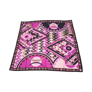 Vintage Italian Pucci Geometric Square Silk Scarf For Sale