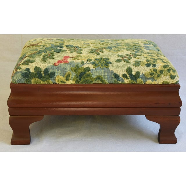 Early 1900s Foot Stool w/ Scalamandre Marly Velvet Fabric - Image 3 of 11