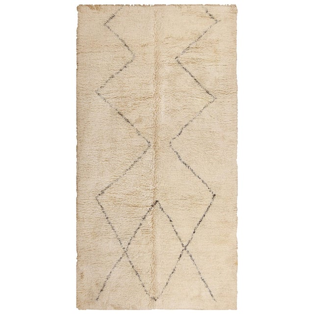 White Vintage Room Size Moroccan Ivory Rug - 6′10″ × 13′ For Sale - Image 8 of 8